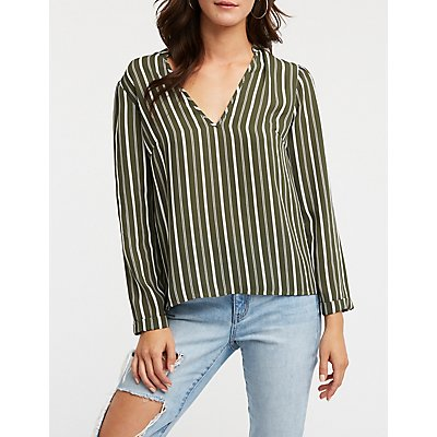 Tie Back Mock Neck Blouse