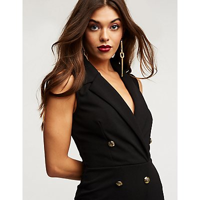 Sleeveless Double Breasted Tuxedo Dress