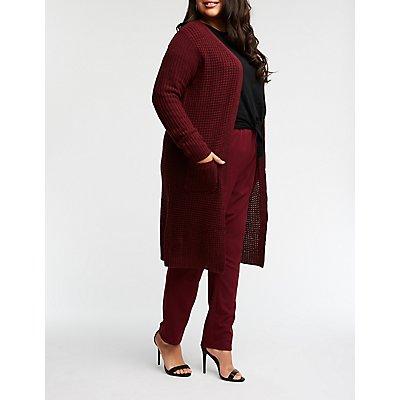 Plus Size Waffle Knit Duster Cardigan