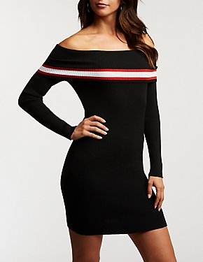 Striped Detailed Off The Shoulder Ribbed Dress