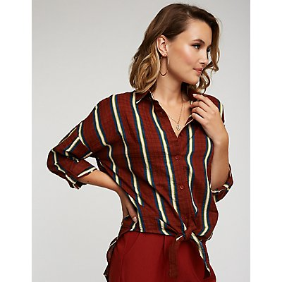 Striped Tie Waist Button Up Top