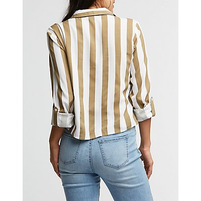 Striped Tie Front Button Up Top