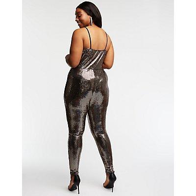 Plus Size Sequin V Neck Jumpsuit