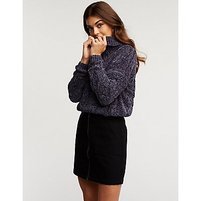 Chenille Turtleneck Sweater