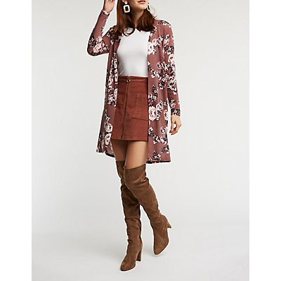 Floral Open Front Cardigan