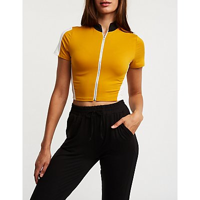 Zip Front Cropped Top