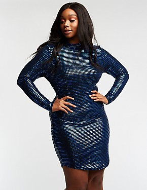 Plus Size Sequin Mock Neck Bodycon Dress