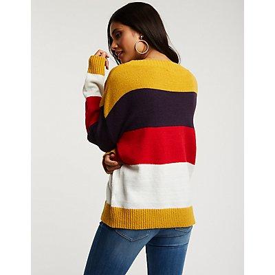 Striped Colorblock Pullover Sweater