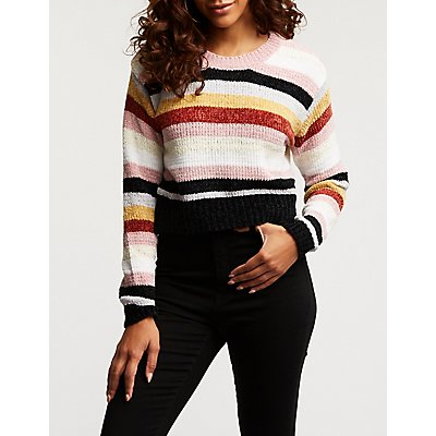 Chenille Striped Pullover Sweater