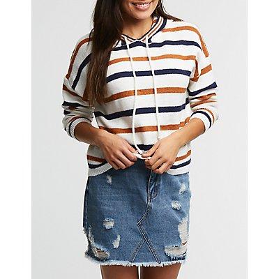 Striped Knit Hoodie
