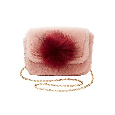 Faux Fur Pom Pom Crossbody Bag
