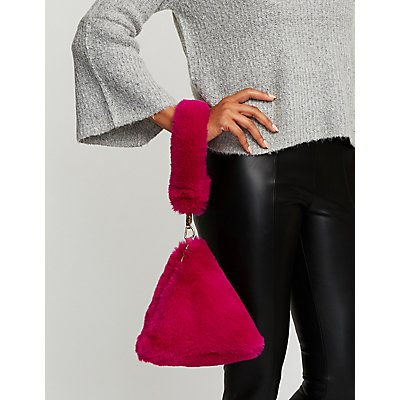 Faux Fur Triangle Wristlet Clutch