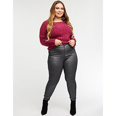 Plus Size Refuge Metallic Skintight Legging Jeans
