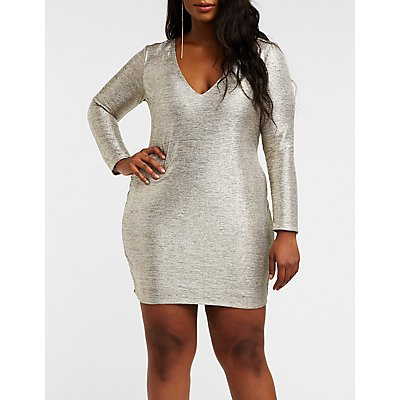 Plus Size Metallic Bodycon Dress