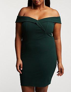 Plus Size Off The Shoulder Bodycon Dress
