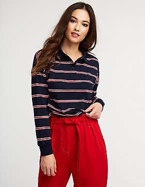 Striped Crop Polo