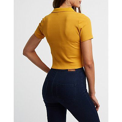 Ribbed Zip Up Polo Top