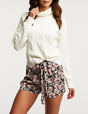 Floral Tie Front Shorts