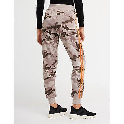Side Stripe Camo Jogger Pants