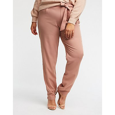 Plus Size Tie Front Trousers