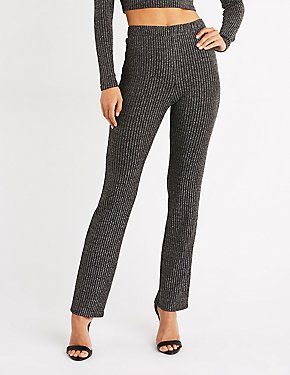 Metallic Ribbed Flared Pants