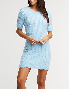 Fuzzy Ribbed Sweater Dress