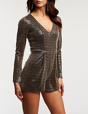 Sequin V Neck Romper
