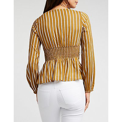 Striped V Neck Peplum Blouse