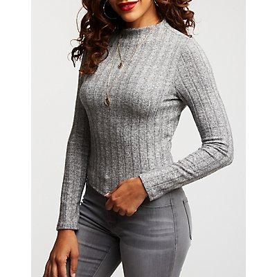Brushed Ribbed Mock Neck Sweater