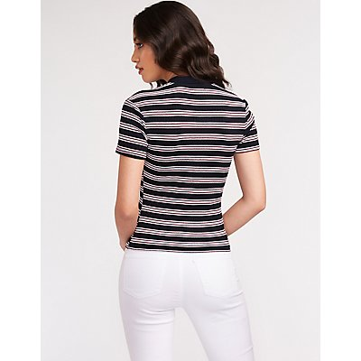 Striped Ribbed Knit Crop Polo