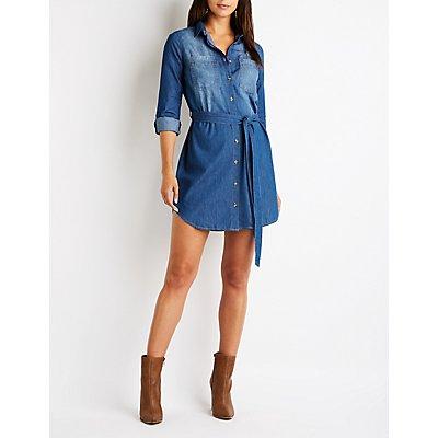 Chambray Button Up Shirt Dress