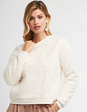 Faux Fur Crew Neck Pullover