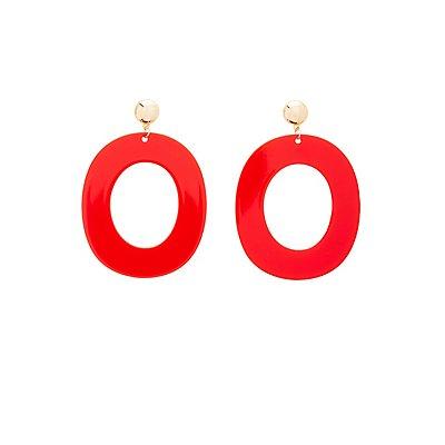 Resin Oval Drop Earrings