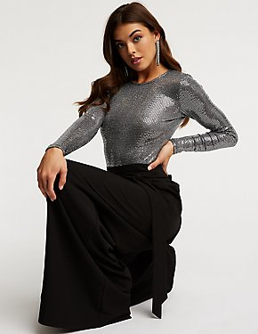 Crew Neck Sequin Bodysuit