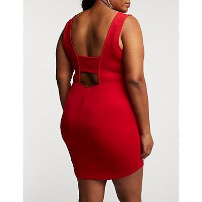 Plus Size Wrap Asymmetrical Bodycon Dress
