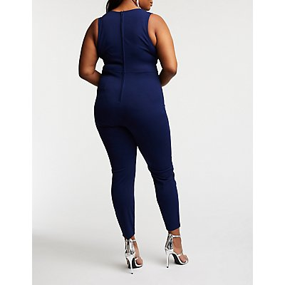 Plus Size Slim Leg Tuxedo Jumpsuit