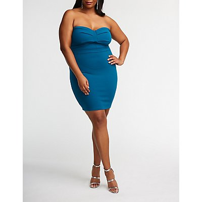 Plus Size Strapless Ruched Bodycon Dress