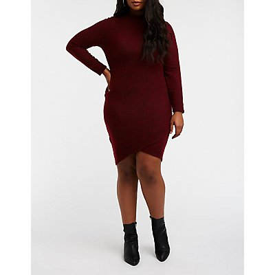 Plus Size Mock Neck Bodycon Dress