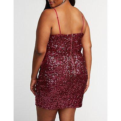 Plus Size Sequin Bustier Bodycon Dress