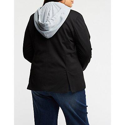 Plus Size Hooded Blazer