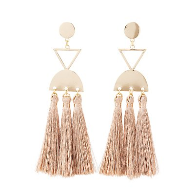 Metal &Amp; Tassel Drop Earrings by Charlotte Russe