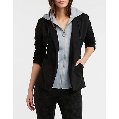 Hooded Zip Up Blazer