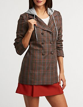 Plaid Hooded Blazer