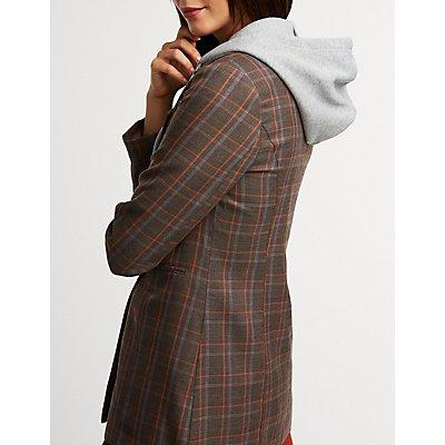 Plaid Hooded Blazer