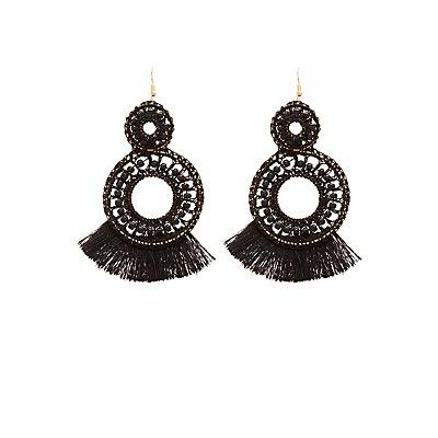 Beaded Fringe Drop Earrings