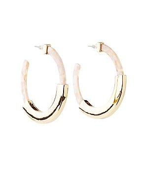 Metal & Marble Resin Hoop Earrings