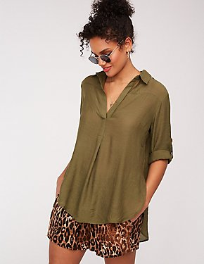 Collared V Neck Split Back Blouse