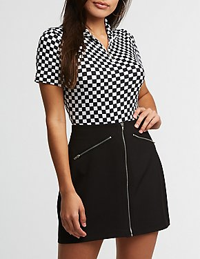 Checkered Zip Up Bodysuit