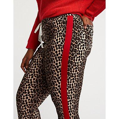 Plus Size Leopard Print Jogger Pants