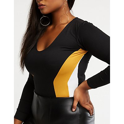 Plus Size Chevron Colorblock Bodysuit